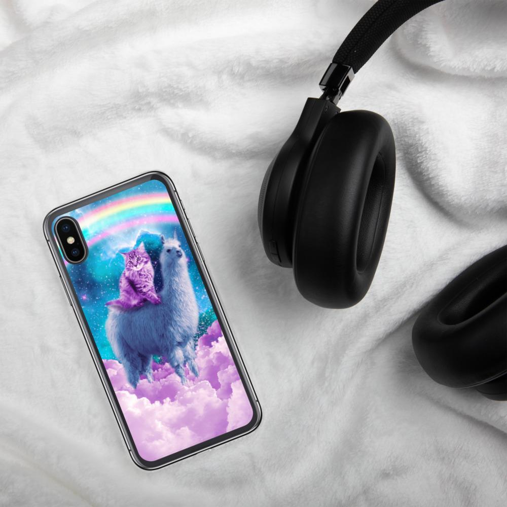 RandomGalaxy iPhone X/XS Rainbow Llama - Cat Llama iPhone Case