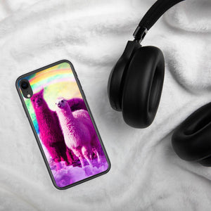 RandomGalaxy iPhone XR Crazy Funny Rainbow Llama In Space iPhone Case