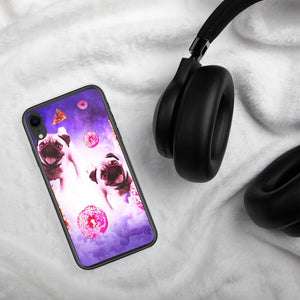 RandomGalaxy iPhone XR Pugs In The Clouds With Doughnut And Pizza iPhone Case
