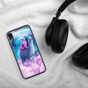 RandomGalaxy iPhone XR Rainbow Llama - Cat Llama iPhone Case