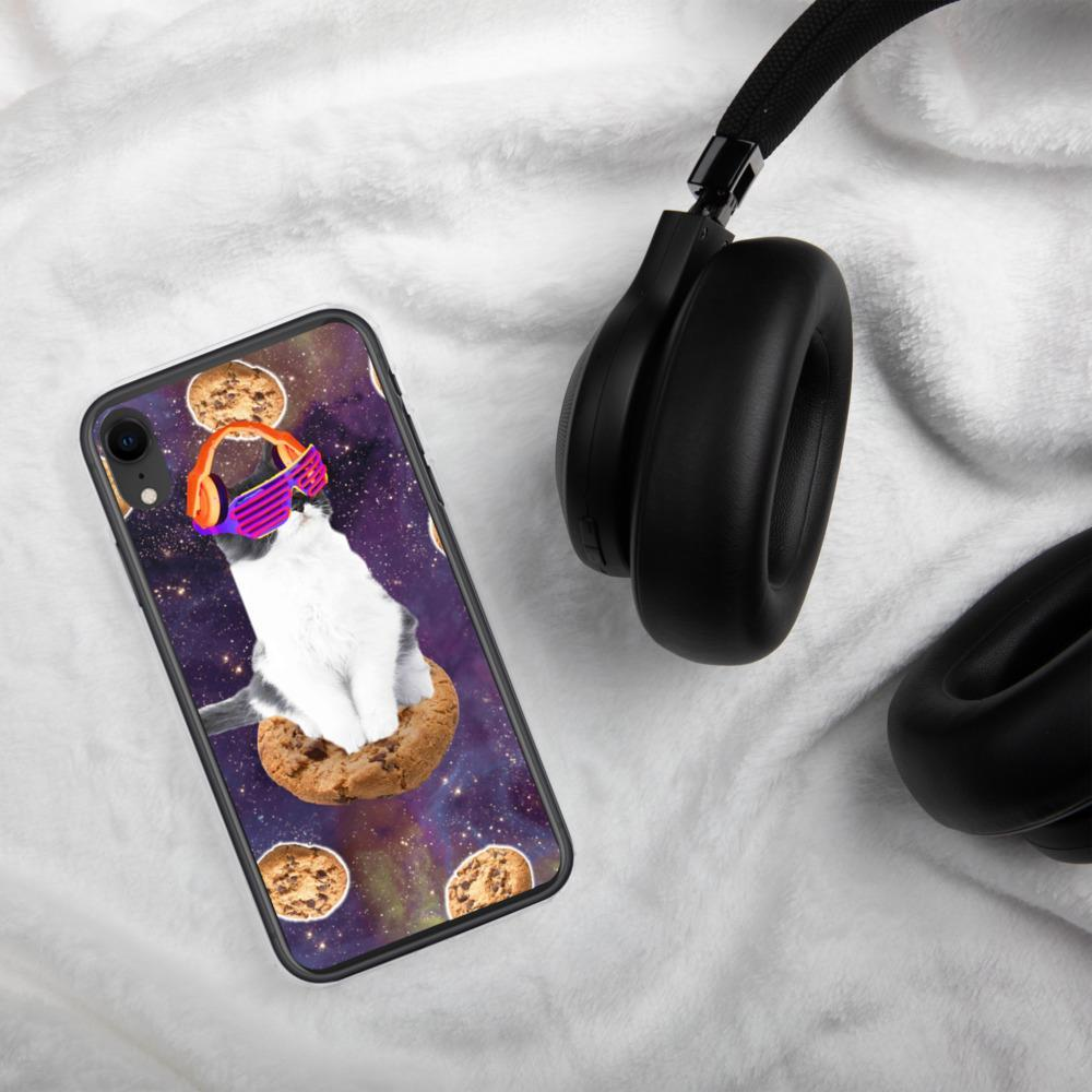 RandomGalaxy iPhone XR Rave Kitty Cat On Choc Cookie In Space iPhone Case