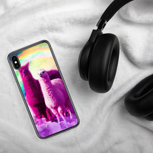 RandomGalaxy iPhone XS Max Crazy Funny Rainbow Llama In Space iPhone Case