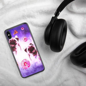 RandomGalaxy iPhone XS Max Pugs In The Clouds With Doughnut And Pizza iPhone Case