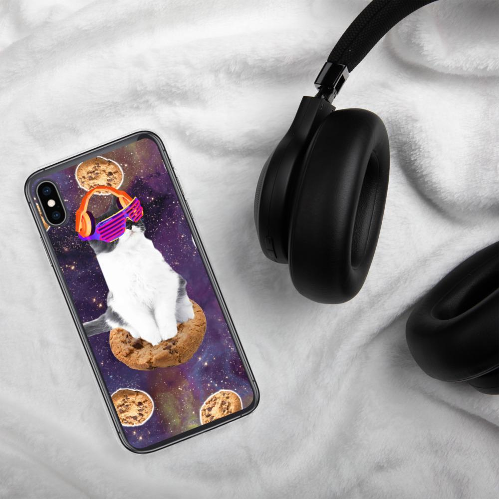 RandomGalaxy iPhone XS Max Rave Kitty Cat On Choc Cookie In Space iPhone Case