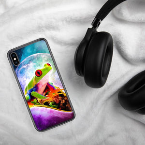 RandomGalaxy iPhone XS Max Red Tree Frog Riding Taco In Space iPhone Case