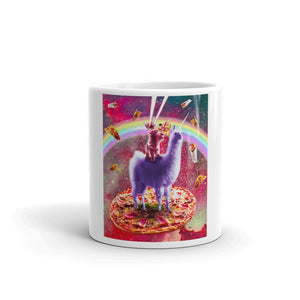 RandomGalaxy Laser Eyes Outer Space Cat Riding On Llama Unicorn Mug