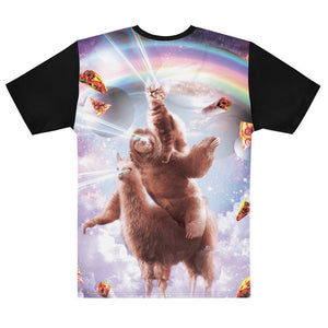 RandomGalaxy Laser Eyes Space Cat Riding Sloth, Llama - Rainbow T-shirt