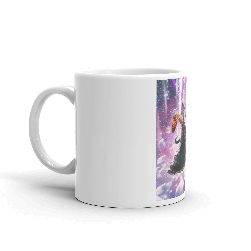 RandomGalaxy Lazer Warrior Space Cat Riding Turtle Eating Taco Mug