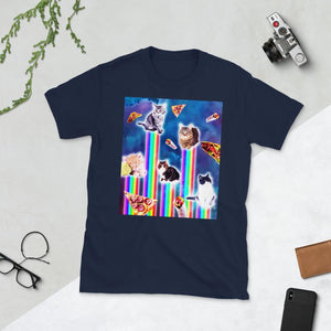 RandomGalaxy Navy / S Outer Space Galaxy Cats With Rainbow Short-Sleeve Unisex T-Shirt