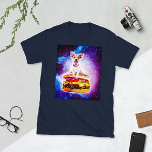 RandomGalaxy Navy / S Outer Space Galaxy Dog Riding Burger Short-Sleeve Unisex T-Shirt