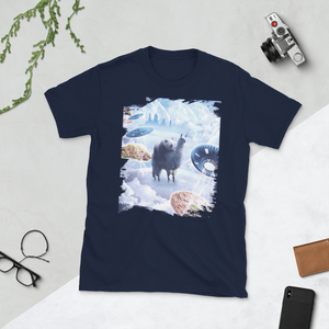 RandomGalaxy Navy / S Space Panda Riding Llama Unicorn - Pizza & Taco Short-Sleeve Unisex T-Shirt
