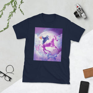 RandomGalaxy Navy / S Space Sloth Riding On Flying Unicorn With Pizza Short-Sleeve Unisex T-Shirt