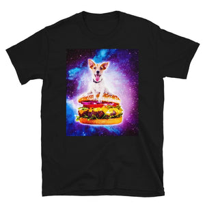 RandomGalaxy Outer Space Galaxy Dog Riding Burger Short-Sleeve Unisex T-Shirt