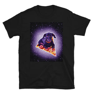 RandomGalaxy Outer Space Galaxy Dog Riding Pizza Short-Sleeve Unisex T-Shirt