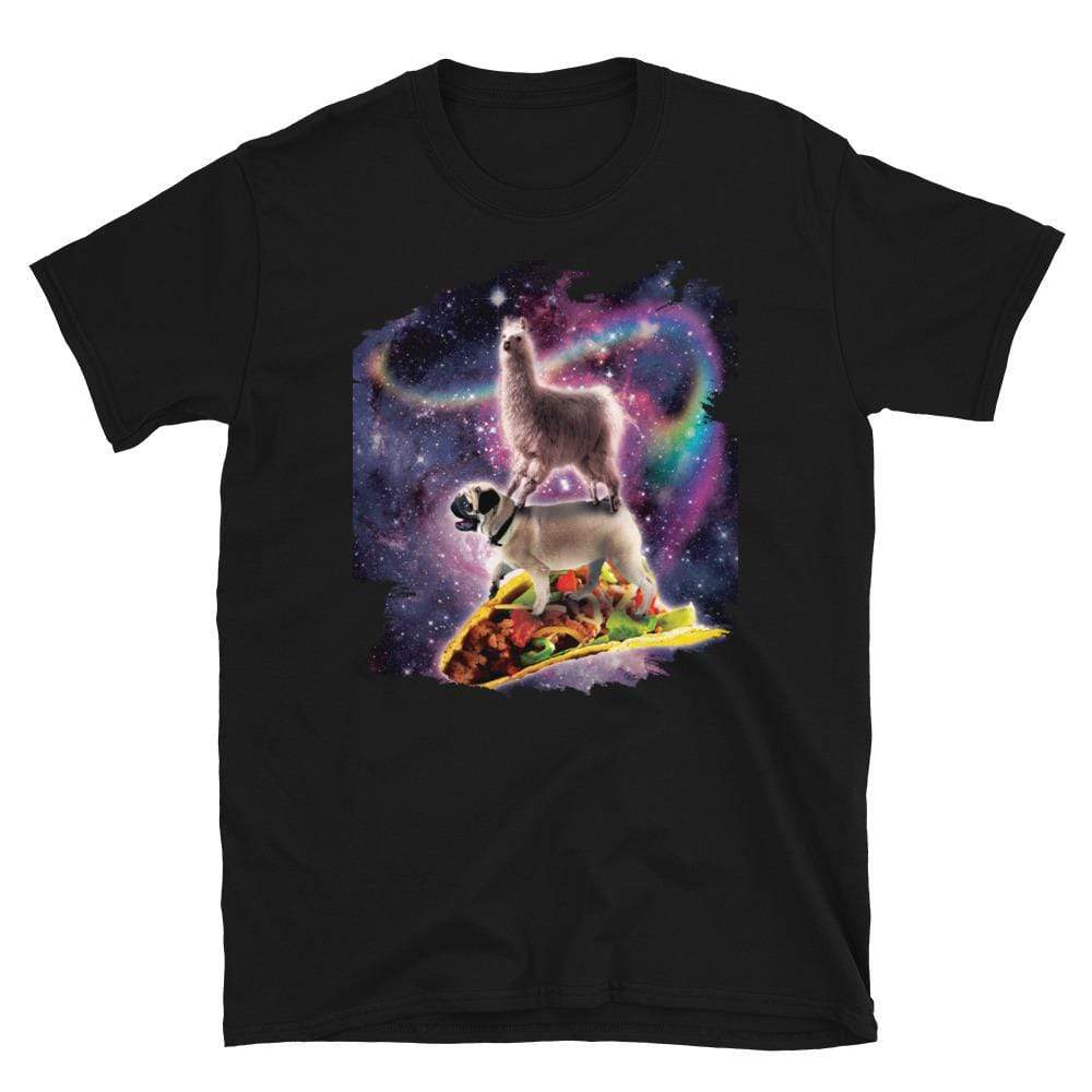 RandomGalaxy Rainbow Space Llama On Pug Riding Taco Short-Sleeve Unisex T-Shirt