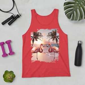 RandomGalaxy Red Triblend / XS Cute Colorful Flamingo Palm Tree Unisex Tank Top
