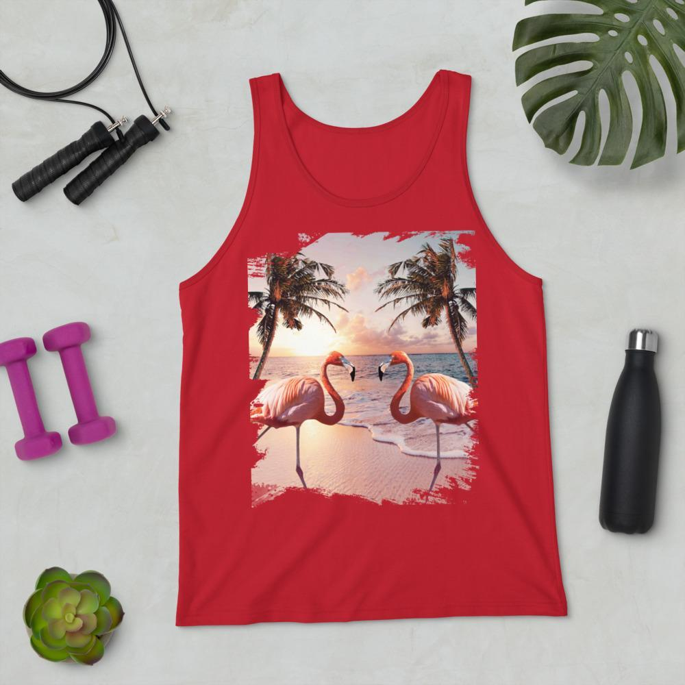 RandomGalaxy Red / XS Cute Colorful Flamingo Palm Tree Unisex Tank Top