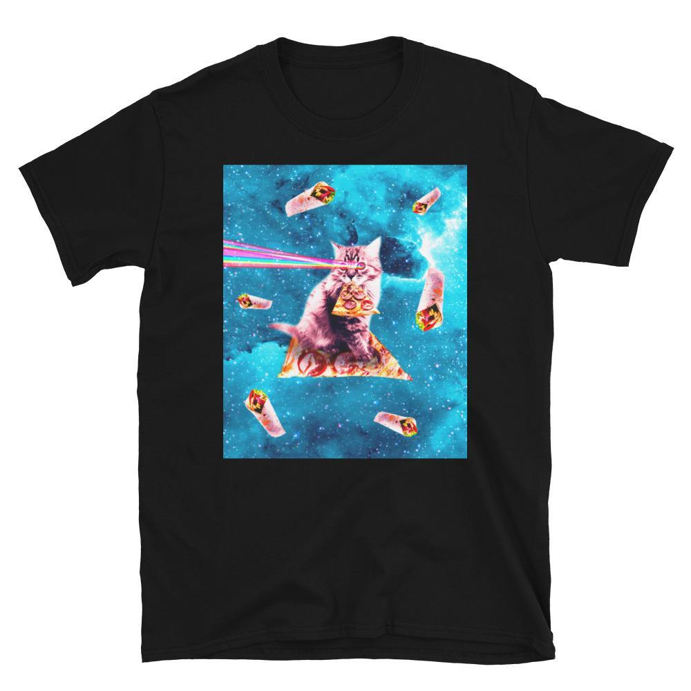 RandomGalaxy Space Cat Eating Pizza - Rainbow Laser Eyes, Burrito Short-Sleeve Unisex T-Shirt