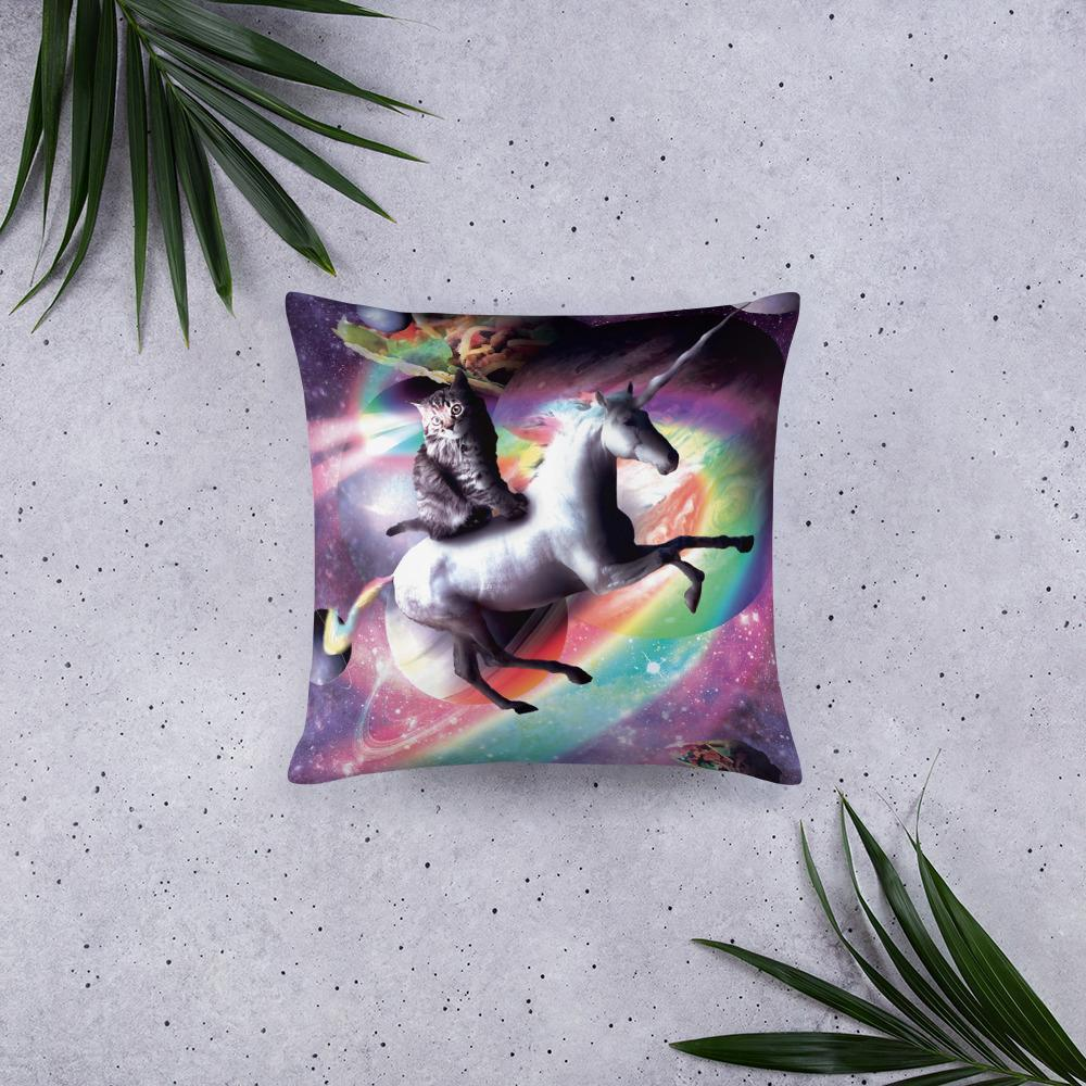 RandomGalaxy Space Cat Riding Unicorn - Laser, Tacos And Rainbow Basic Pillow