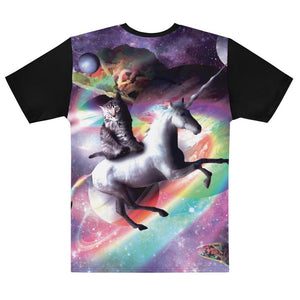 RandomGalaxy Space Cat Riding Unicorn - Laser, Tacos And Rainbow T-shirt