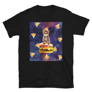RandomGalaxy Space Kitty Cat Riding Burger With Nachos Short-Sleeve Unisex T-Shirt