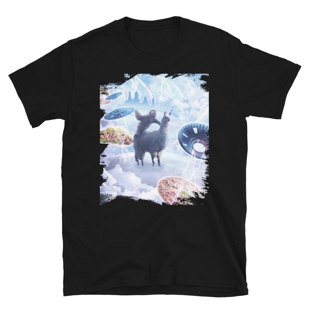 RandomGalaxy Space Sloth Riding Llama Unicorn - Pizza & Taco Short-Sleeve Unisex T-Shirt