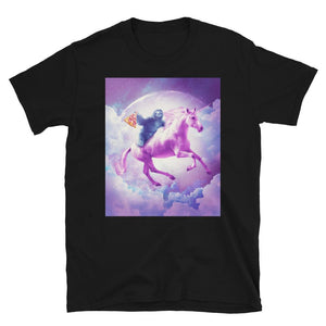 RandomGalaxy Space Sloth Riding On Flying Unicorn With Pizza Short-Sleeve Unisex T-Shirt