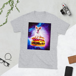 RandomGalaxy Sport Grey / S Outer Space Galaxy Dog Riding Burger Short-Sleeve Unisex T-Shirt