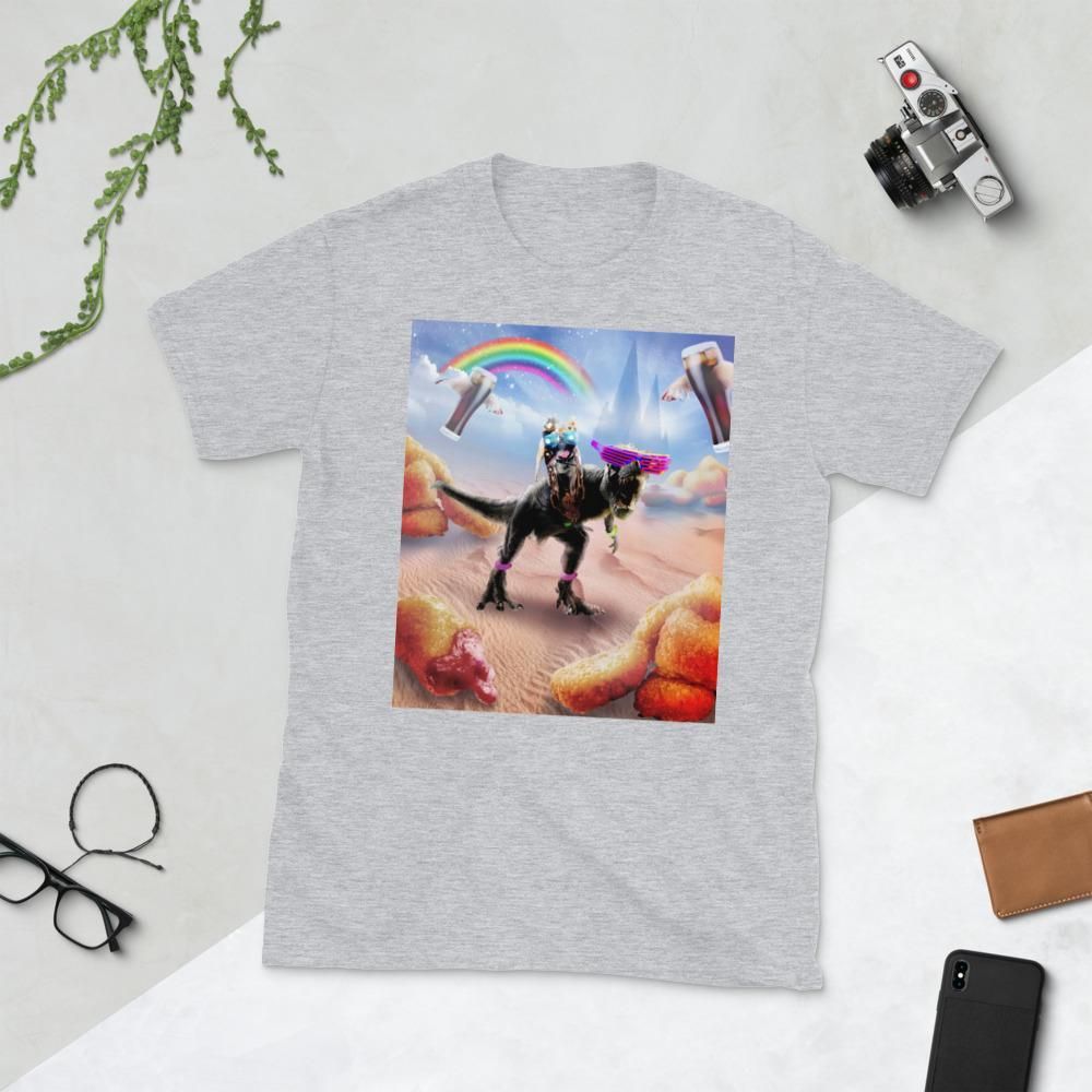 RandomGalaxy Sport Grey / S Pug Riding Dinosaur With Chicken Nuggets And Cola Short-Sleeve Unisex T-Shirt