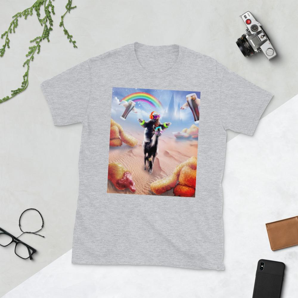 RandomGalaxy Sport Grey / S Sloth Riding Alpaca With Chicken Nuggets And Cola Short-Sleeve Unisex T-Shirt