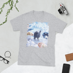 RandomGalaxy Sport Grey / S Space Panda Riding Llama Unicorn - Pizza & Taco Short-Sleeve Unisex T-Shirt