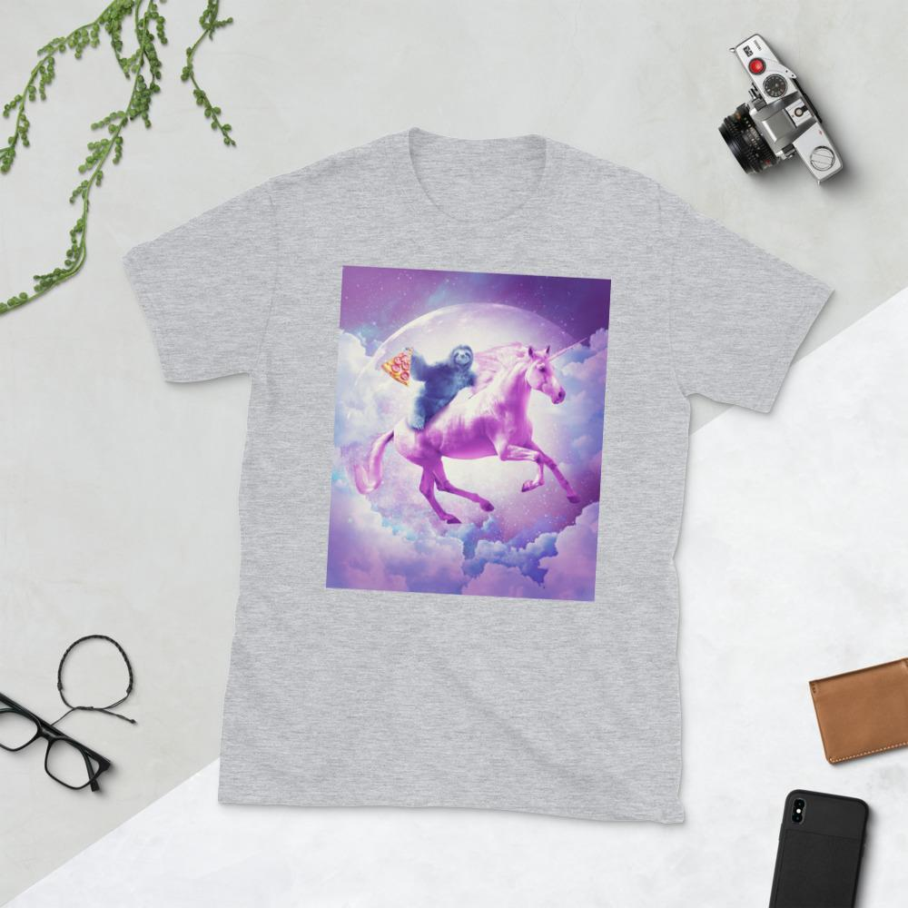 RandomGalaxy Sport Grey / S Space Sloth Riding On Flying Unicorn With Pizza Short-Sleeve Unisex T-Shirt