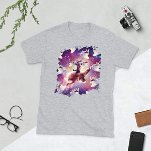 RandomGalaxy Sport Grey / S Thug Space Cat On Bear Unicorn - Coffee Short-Sleeve Unisex T-Shirt