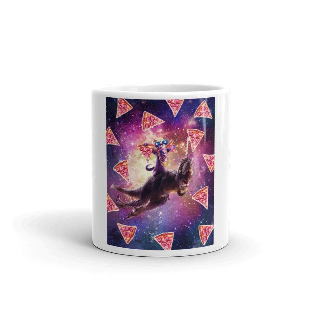 RandomGalaxy Thug Space Cat On Dinosaur Unicorn - Pizza Mug