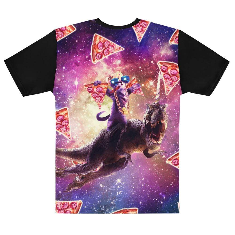 RandomGalaxy Thug Space Cat On Dinosaur Unicorn - Pizza T-shirt