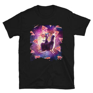 RandomGalaxy Thug Space Cat On Llama Unicorn - Pizza Short-Sleeve Unisex T-Shirt