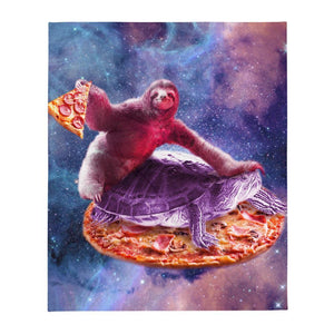 RandomGalaxy Trippy Space Sloth Turtle - Sloth Pizza Throw Blanket