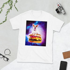 RandomGalaxy White / S Outer Space Galaxy Dog Riding Burger Short-Sleeve Unisex T-Shirt