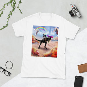 RandomGalaxy White / S Pug Riding Dinosaur With Chicken Nuggets And Cola Short-Sleeve Unisex T-Shirt