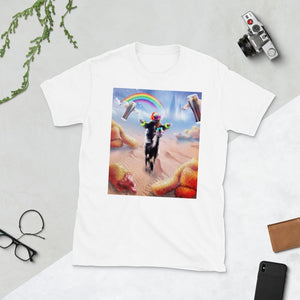 RandomGalaxy White / S Sloth Riding Alpaca With Chicken Nuggets And Cola Short-Sleeve Unisex T-Shirt
