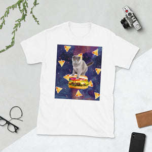 RandomGalaxy White / S Space Kitty Cat Riding Burger With Nachos Short-Sleeve Unisex T-Shirt