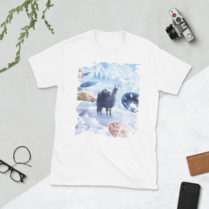 RandomGalaxy White / S Space Panda Riding Llama Unicorn - Pizza & Taco Short-Sleeve Unisex T-Shirt