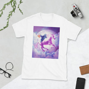 RandomGalaxy White / S Space Sloth Riding On Flying Unicorn With Pizza Short-Sleeve Unisex T-Shirt