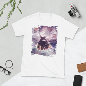 RandomGalaxy White / S Space Sloth Riding Turtle Unicorn - Pizza & Taco Short-Sleeve Unisex T-Shirt