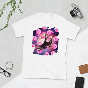 RandomGalaxy White / S Warrior Space Cat On Dinosaur Unicorn - Donut Short-Sleeve Unisex T-Shirt