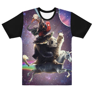 RandomGalaxy XS Cat Riding Chicken Turtle Panda Llama Unicorn T-shirt