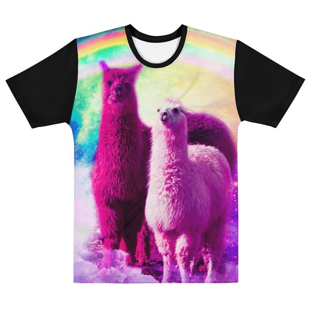 RandomGalaxy XS Crazy Funny Rainbow Llama In Space T-shirt