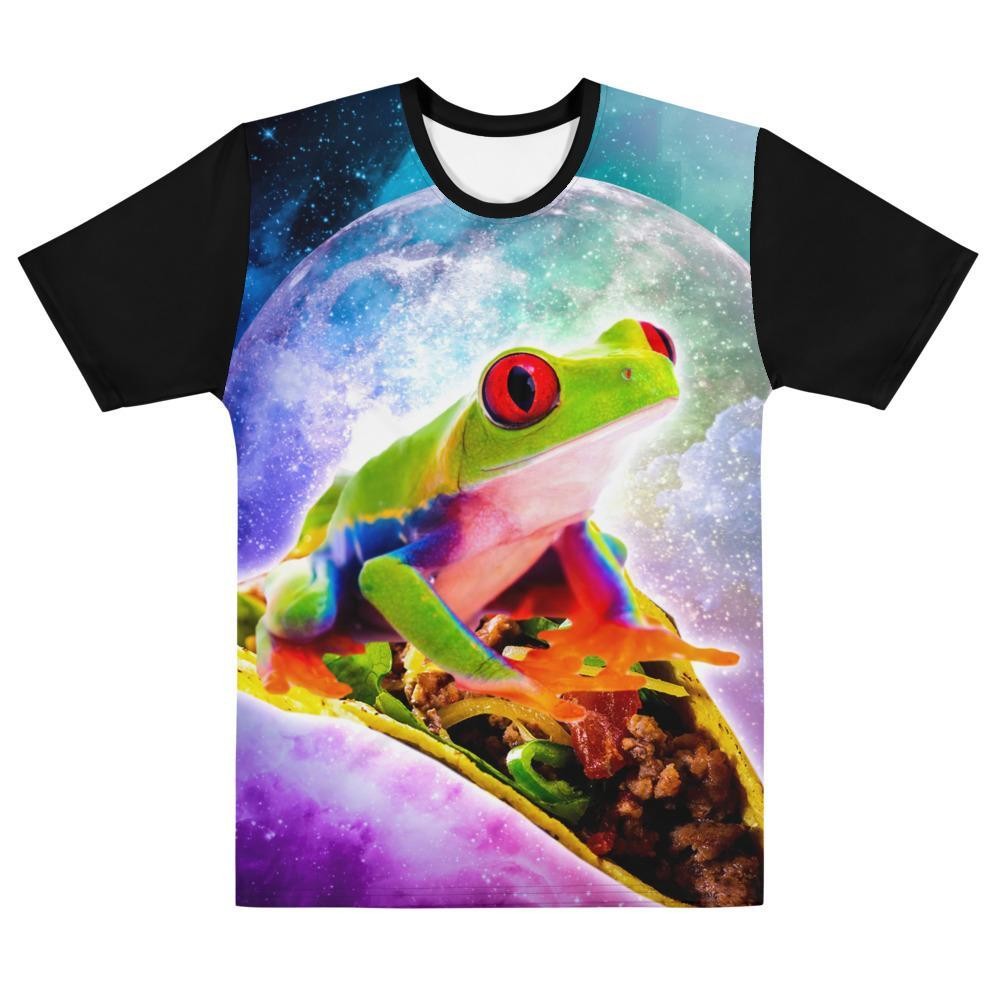 RandomGalaxy XS Red Tree Frog Riding Taco In Space T-shirt