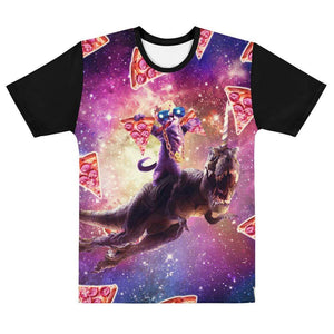 RandomGalaxy XS Thug Space Cat On Dinosaur Unicorn - Pizza T-shirt