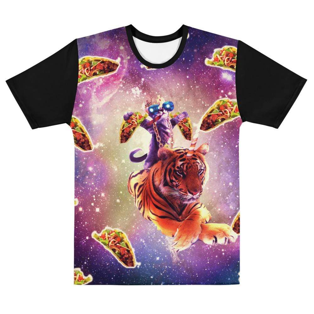 RandomGalaxy XS Thug Space Cat On Tiger Unicorn - Taco T-shirt